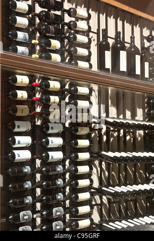 Wine Display Window, Del Frisco's Grille, Rockefeller Center, NYC - Stock Photo