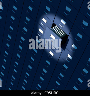 File cabinet drawer full of files close-up - Stock Photo