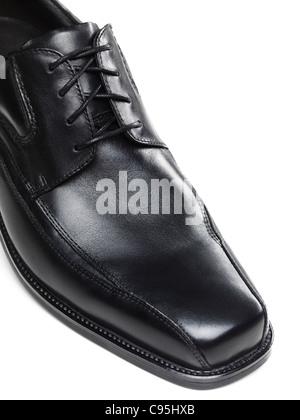 Mens black dress shoe isolated on white background - Stock Photo