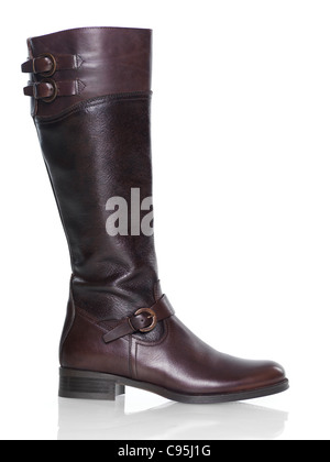 Knee-high brown leather fashion womens boot isolated on white background - Stock Photo
