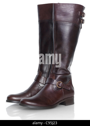 Knee-length brown leather fashion womens boots isolated on white background - Stock Photo