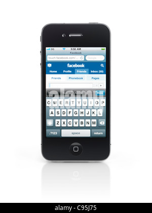 Apple iPhone 4 smartphone with Facebook social networking web site open on its display isolated on white background - Stock Photo