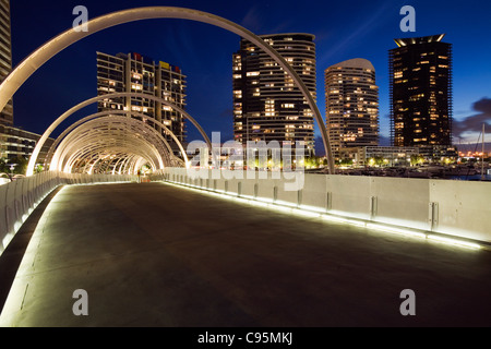 The Webb Dock Bridge in Melbourne's Docklands - its design inspired by Koorie fishing traps. Melbourne, Victoria, - Stock Photo