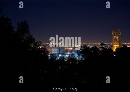 Los Angeles night skyline - Stock Photo