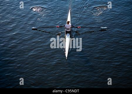 Rower on the Yarra River in Melbourne, Victoria, Australia - Stock Photo