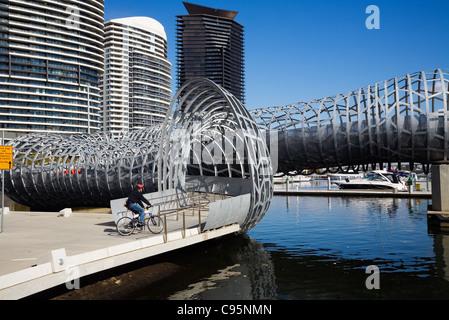 The Webb Bridge in the Docklands, Melbourne, Victoria, Australia - Stock Photo