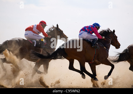 Horse racing in the outback at the Birdsville Cup Races.  Birdsville, Queensland, Australia - Stock Photo