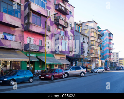 Brightly painted buildings in Tirana, Albania. - Stock Photo