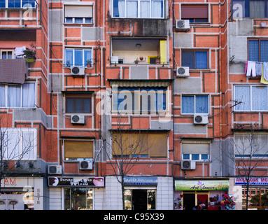 Brightly painted buildings in Tirana, Albania. - Stock Photo