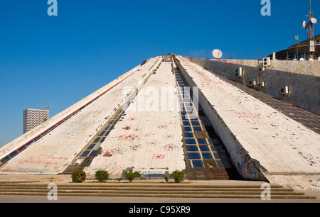 The pyramid building, Albanian International Centre of Culture, in Tirana, Albania, is in a state of disrepair. - Stock Photo