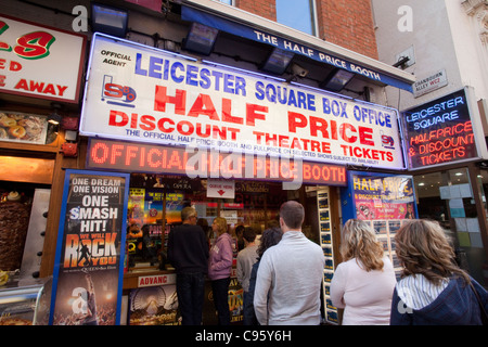 England, London, Leicester Square, Half Price Ticket Booth - Stock Photo