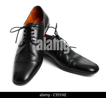 Black shoes isolated on white - Stock Photo