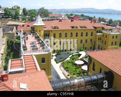 ISTANBUL, TURKEY. An elevated view of the Four Seasons Hotel in Sultanahmet district, with the Bosphorus behind. - Stock Photo