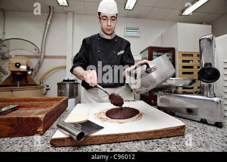 Chocolate factory (Antica Dolceria Bonajuto) in the town of Modica in Sicily, Italy. - Stock Photo