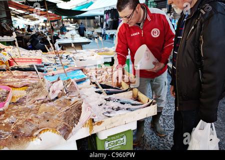 Balloro market in Palermo, Sicily, Italy. - Stock Photo
