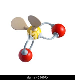 Sulphur dioxide molecule - Stock Photo