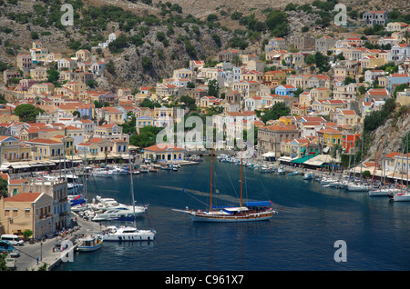 Port of Symi, Greek Island of Symi, Aegean Dodecanese Island Group, Greece. - Stock Photo