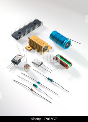 Electronic components including resistors, transistors, capacitors and integrated circuits. - Stock Photo