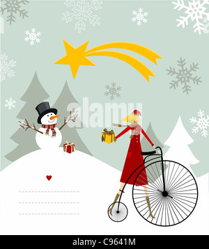 Snowman with star and gift on a bicycle illustration with blank lines to write on snowy background. Vector file - Stock Photo