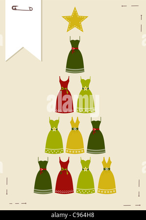 Christmas tree made of multicolored dresses with a yellow star on the top on pink background. Vector file available. - Stock Photo