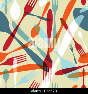 Transparency silverware icons seamless pattern background. Fork, knife and spoon silhouettes on different sizes and colors. Vector file avaliable.