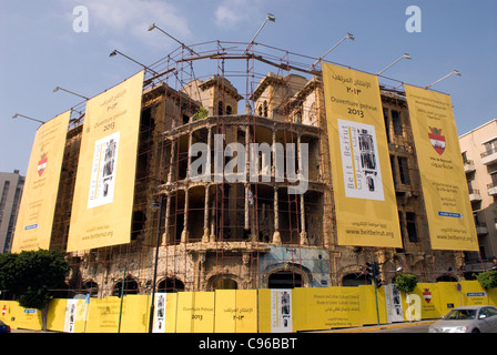 Barakat building, Beirut, Lebanon. This war damaged building is due to be converted into a cultural museum. - Stock Photo