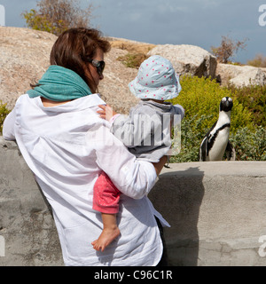 Mother and child looking at (and being looked at by) a Cape Penguin (Spheniscus demersus) at Boulders Beach, South - Stock Photo