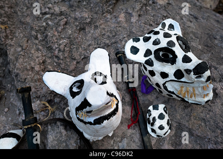 Demon masks and wooden swords prepared for the spiritual ceremony of Semana Santa (Holy Week) in Jesús María, Nayarit, - Stock Photo