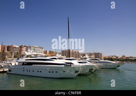 moored yacht Luxury motor boats in Palma de mallorca harbor Majorca sea Balearic isle Spain - Stock Photo