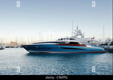 Marina, luxury yacht BENITA BLUE, Avinguda de Gabriel Roca, Palma de Majorca, Majorca, Balearic Islands, Spain, - Stock Photo