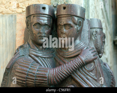 Sculpture of  four roman emperors from 4th century The Tetrarchs Basilica di San Marco Venice - Stock Photo