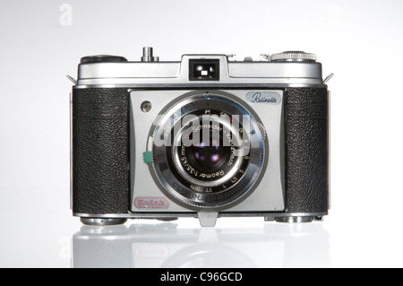 An old kodak retinette snapshot camera photographed against a white background - Stock Photo