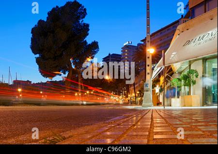 Evening mood in the port of Palma, lifestyle, Avinguda de Gabriel Roca, Palma de Majorca, Majorca, Balearic Islands, - Stock Photo
