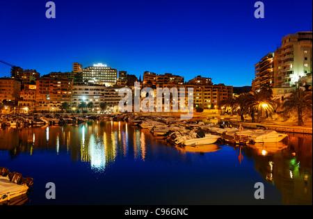 Small marina, Avinguda de Gabriel Roca, Palma de Majorca, Majorca, Balearic Islands, Spain, Europe - Stock Photo