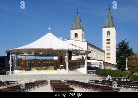 The Church of St. James, with the dais and seating for open air masses, in Međugorje, Herzegovina-Neretva, Bosnia - Stock Photo