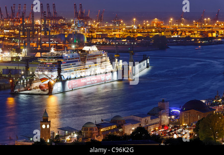 Aerial view, Aida Cruiseship, passenger ship, Elbe dry dock, Blohm and Voss dockyard, Hamburg, Germany, Europe - Stock Photo