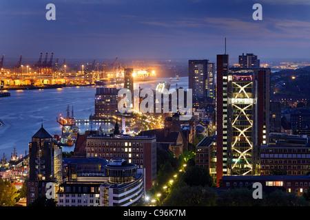 Panoramic view on Hamburg in the evening, Hanseatic city of Hamburg, Germany, Europe - Stock Photo