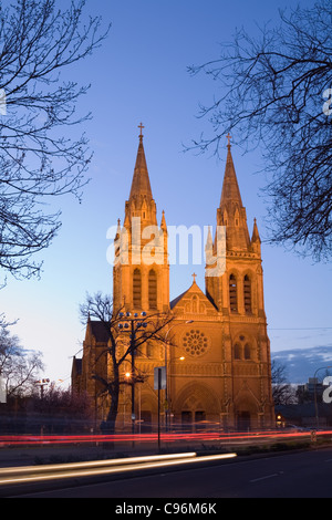 St Peter's Cathedral in North Adelaide illuminated at dusk.  Adelaide, South Australia, Australia - Stock Photo