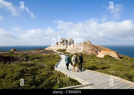 Boardwalk leading to Remarkable Rocks on the south coast of Kangaroo Island, South Australia, Australia - Stock Photo