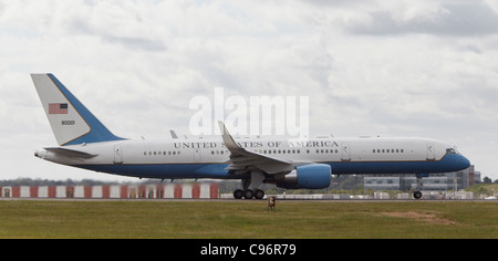 UASF Boeing C-32A used by US President Barack Obama on his visit to the UK - Stock Photo