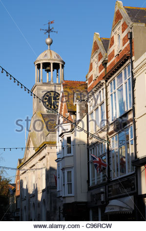 St Mary Street bathed in sunshine in Weymouth, Dorset, England - Stock Photo