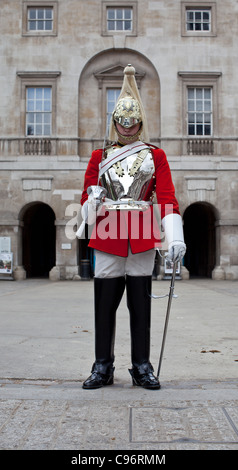 Queen's Life Guard Soldier on duty at Horse Guards Parade, London - Stock Photo