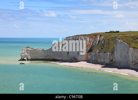 La Falaise d'Amont in Etretat on the Upper Normandy coast in the North of France. - Stock Photo