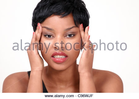 Girl with headache and stress - Stock Photo