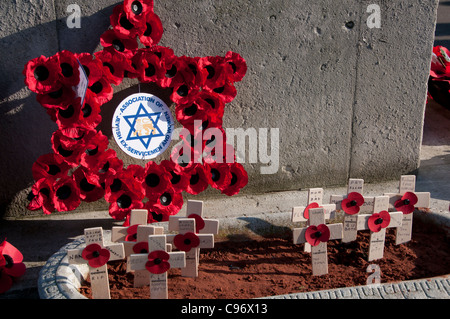 Remembrance Sunday,  Poppy crosses and a wreath in the shape of a star from the Association of Jewish ex-Servicemen - Stock Photo