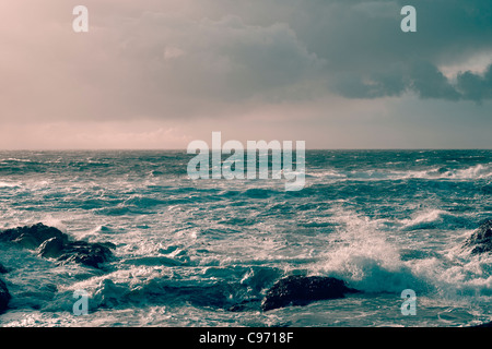 Rough Pacific Ocean waves off the coast of Vancouver Island, British Columbia, Canada - Stock Photo