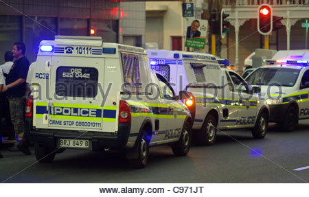 African POLICE car cars vehicle vehicles cop CAPE TOWN SOUTH AFRICA - Stock Photo