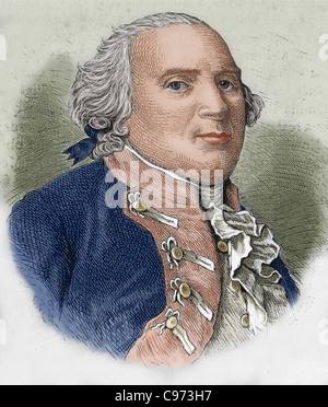 Frederick William II (1744-1797). King of Prussia since 1786. Colored engraving. - Stock Photo