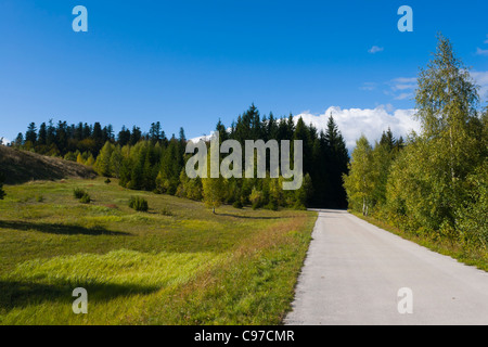 Country-road next to Lepenica lake, Fuzine, Croatia - Stock Photo
