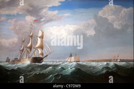 Sailing Ships off the New England Coast 1855 by Henri Lane American - Stock Photo
